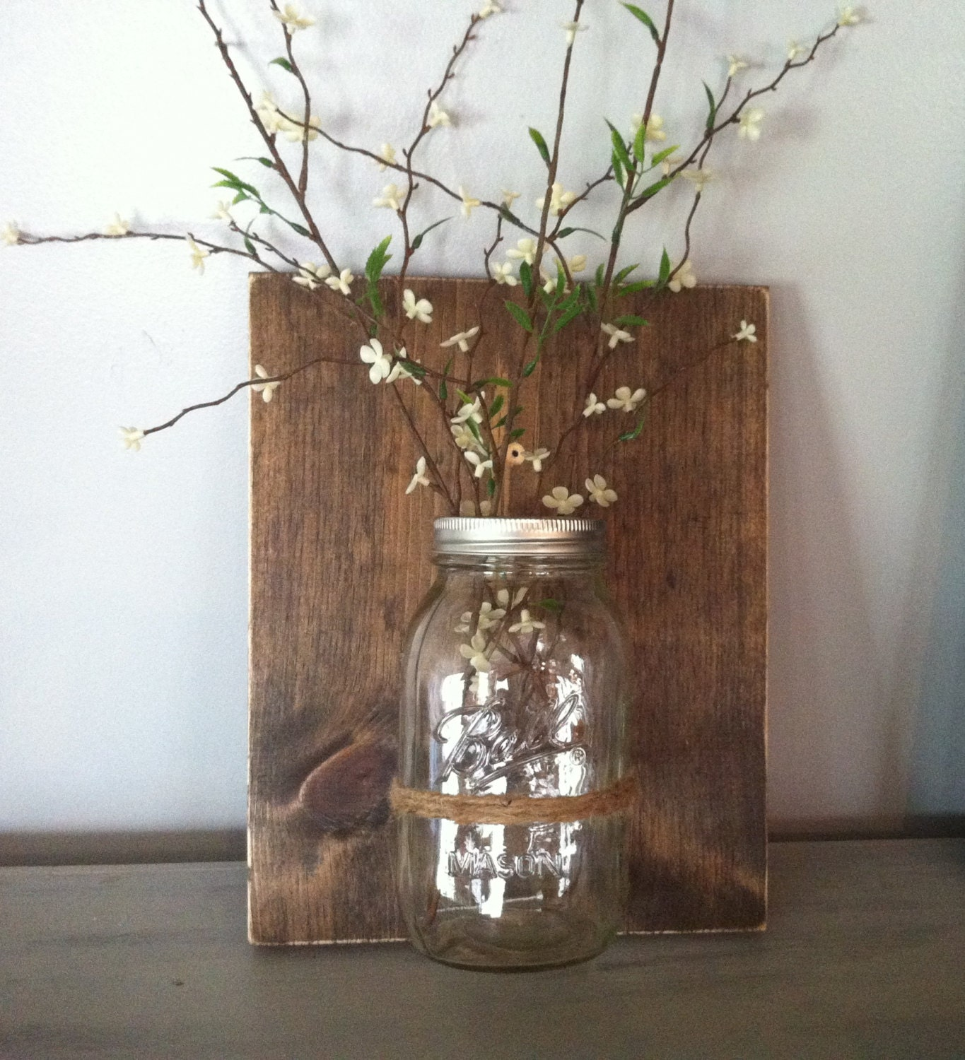 Mason Jar Wall Decor How To : Mason jar wall decor reclaimed wood ball vase