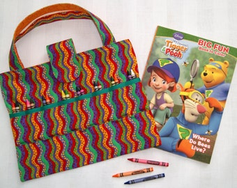 Rainbow Crayon Holder, Kids Arts and Crafts Storage Organizer, Child Travel Activity Bag, Quiet Time Tote, Coloring Book and Crayons