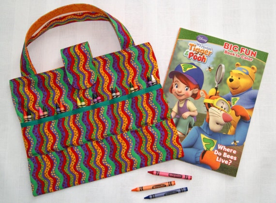 Rainbow crayon holder kids arts and crafts storage for Arts and crafts tote bags