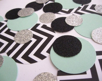 Black/White/Mint/Silver Confetti Mix - Parties/Showers/Weddings/Holidays/Table Decor/DIY Garland