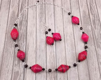 Paper Bead Necklace and Earring Set - Rwandan Paper Beads - Bright Pink and Black