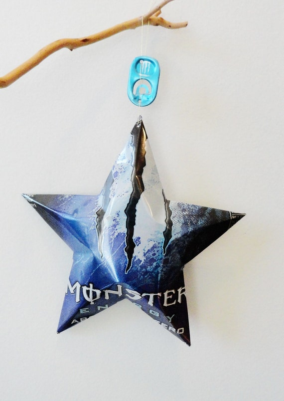 Monster Absolutely Zero Star, Purple Black Christmas Ornaments Soda Can Upcycled Energy Drink