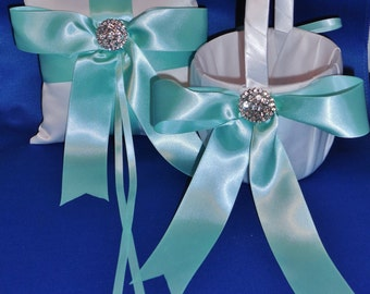 Aqua Blue and White or Ivory Bow front Wedding Pillow OR Basket Choice
