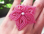 Roses are Red - Large Beaded Flower Ring