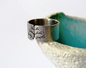 Silver ring, textured autumn tree ring, wide band, metalwork jewelry, graduation gift, Christmas gift, birthday present, gift for mother
