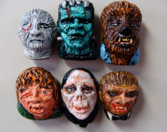 Classic Monsters Refrigerator Magnet Set A & B Mixed(Heads)