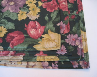 SALE 4 Green Floral Placemats Reversible Green Rose Placemats Yellow Green Pink Placemats  Large Peony Floral Placemats Dark Green Placemats