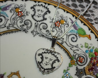 Broken China Jewelry Staffordshire Renaissance Fanciful Face Heart Sweet and Petite Heart Pendant Necklace