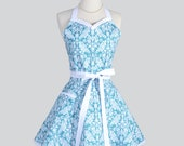 Sweetheart Retro Apron , Retro Cute Womens Apron Feminine and Flirty in Teal and White Damask