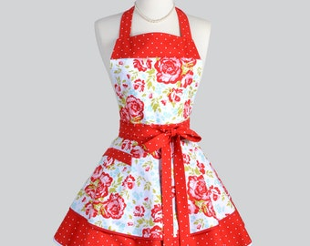 Ruffled Retro Apron - Primrose Red and Teal Floral with Polka Dots Cute Full Kitchen Apron