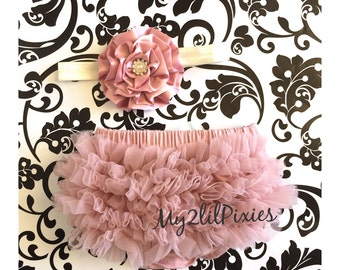 Baby Bloomer and Baby Girl Headband Set- Ruffle Bum Baby Bloomer, Baby Gift , Vintage pink,newborn bloomer, photo prop- READY to SHIP