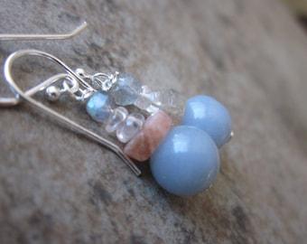 Mixed Gemstone Earrings, Spiritual, Metaphysical, Angelite, Sunstone, Rose Quartz, Labradorite, 925 Sterling Silver, Canadian Seller, OOAK