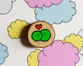 Two Peas in a Pod - Miniature Painting Woodslice - Magnet or Badge - You decide!
