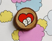 Love - Miniature Painting Woodslice - Magnet or Badge - You decide!