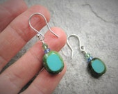 CLEARANCE Earrings, Turquoise Glass Beads with sterling silver ear wires, E 199