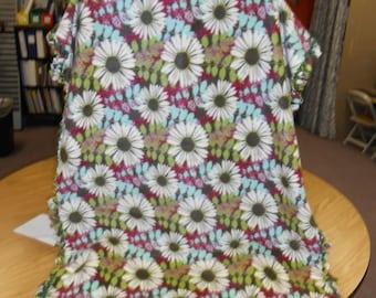 Green Floral Print Fleece Crib Blanket