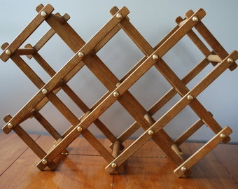 vintage folding wooden wine rack retro rustic farmhouse