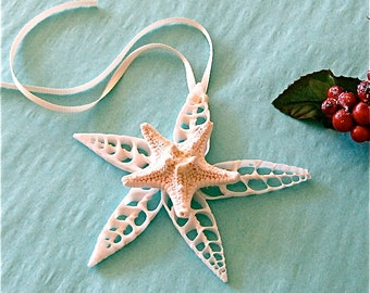 "Beach Ornament - Seashell Christmas Ornament with Shells and Glittered Starfish 3.5"" - 4"""