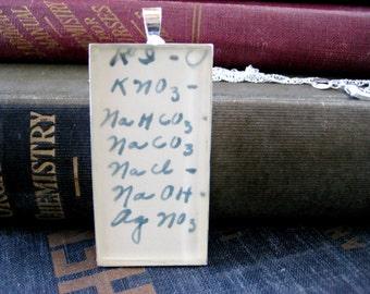 1938 Vintage Formulas Chemistry Homework Nursing Textbook Silver Pendant