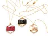 Woven hexagon leather pendant - black natural red