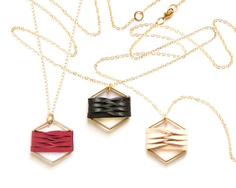 SALE Woven hexagon leather pendant - black natural red
