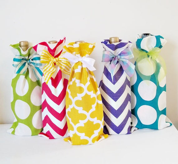 Wine Bags 3 Pack, Wine Sack, Wine Caddy, Wedding, Bachelorette Party, Hostess Gift, Aqua Chevron, Hot Pink Dots, Design Your Own