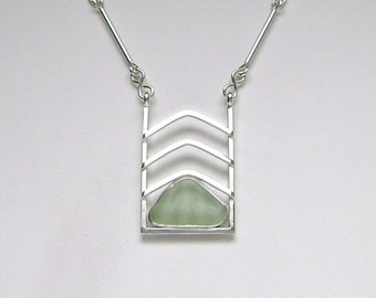 Sea Glass Jewelry - Sterling Pale Green Sea Glass Necklace