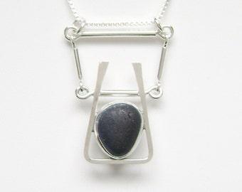 Sea Glass Jewelry - Sterling Rare Victorian English Sea Glass Necklace