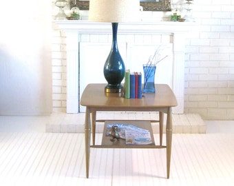 Mid Century Broyhill Large Living Room Table with Shelf