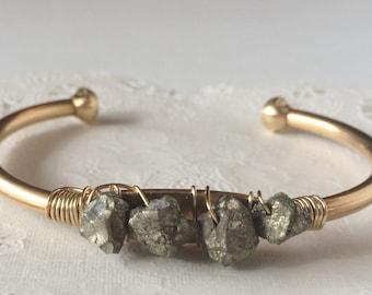 Raw Pyrite | Fools Gold | Stone Bracelet | Boho Bracelet | Beaded Brass Cuff | B100003