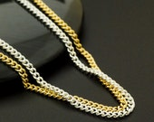 2mm 24 inch  Curb Chain - Made in the USA - Silver Plate or Gold Plate