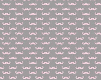 Geekly Stache Pink and Grey-  Riley Blake