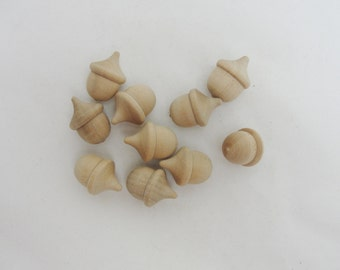 Miniature wooden acorns, tiny acorns, mini acorns set of 10 Unfinished DIY