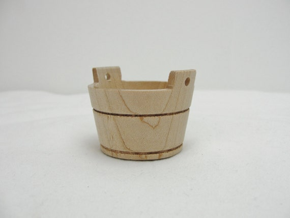 Wooden miniature washtub, small wooden wash tub, dollhouse wash tub