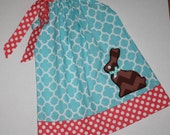 quatrefoil chocolate bunny Easter dress, Pillowcase Dress toddler dresses can be personalized monogrammed, aqua blue, coral,  Easter dresses