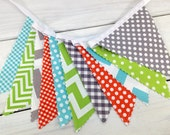 Bunting Banner, Photography Prop, Nursery Decor, Birthday Decoration - Gray, Orange, Lime Green, Grey and Aqua Blue Chevron, Dots, Gingham