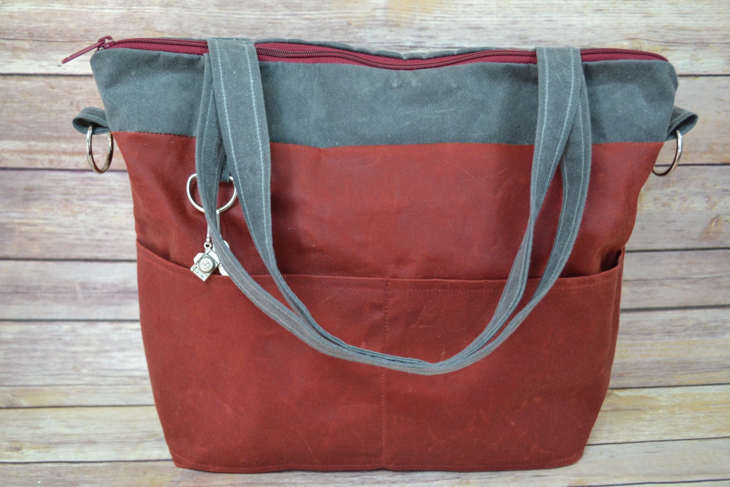 Wonderful Womens Waxed Canvas Tote In Navy Blue Convertible Messenger