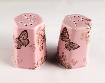 Up-Cycled Vintage Pink Salt and Pepper Butterfly Decals