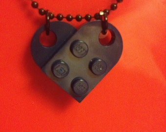 Navy Lego Heart Necklace