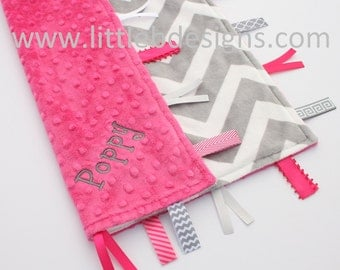 Gray and White Chevron Minky with Hot Pink Tag Blanket  Ribbon Lovey - Personalized
