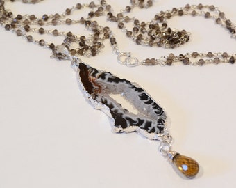 Stalactite Drusy Pendant Necklace Beer Quartz Wire Wrapped Smoky Quartz Rosary Style Long Double Strand Necklace