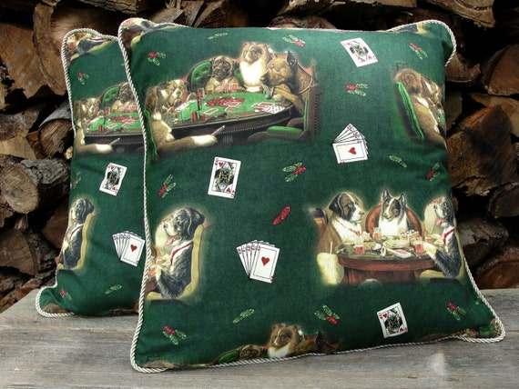 dogs playing poker 18 pillow cover with cord trim. Black Bedroom Furniture Sets. Home Design Ideas