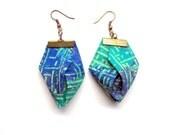 Monet fabric Origami earrings, Trendy spring origami earrings, lavender and green origami earrings