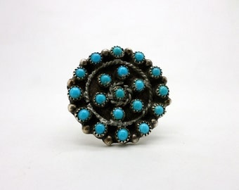 SALE Vintage Native American Style Turquoise and Silver Ring