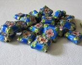 Blue Diamond Shaped Cloisonne Flower Beads, 4 Pieces