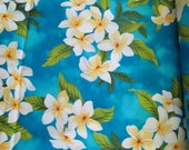 Hawaiian Quilting Fabric Turquoise with Plumeria Clusters from Marianne of Maui