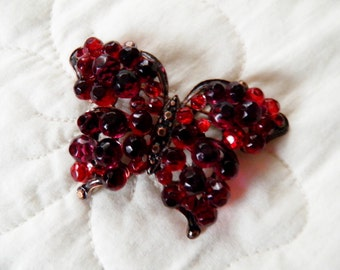 Cranberry Red Glass Bead Butterfly Brooch Signed