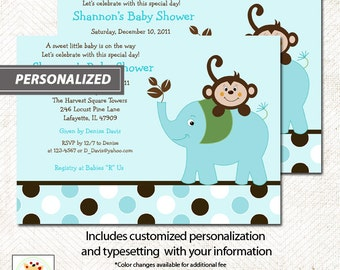 Blue Elephant and Monkey Jungle Boy Baby Shower Invitatons Print Your Own or Printed Baby Shower Invitations