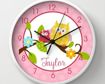 "Happy Owls in a Tree Pink and White 10"" Girls NO TICK Nursery Clock, Choose frame color, hand color, personalization"