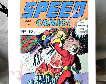 Speed Comics Number 10 Blank Note Card retro